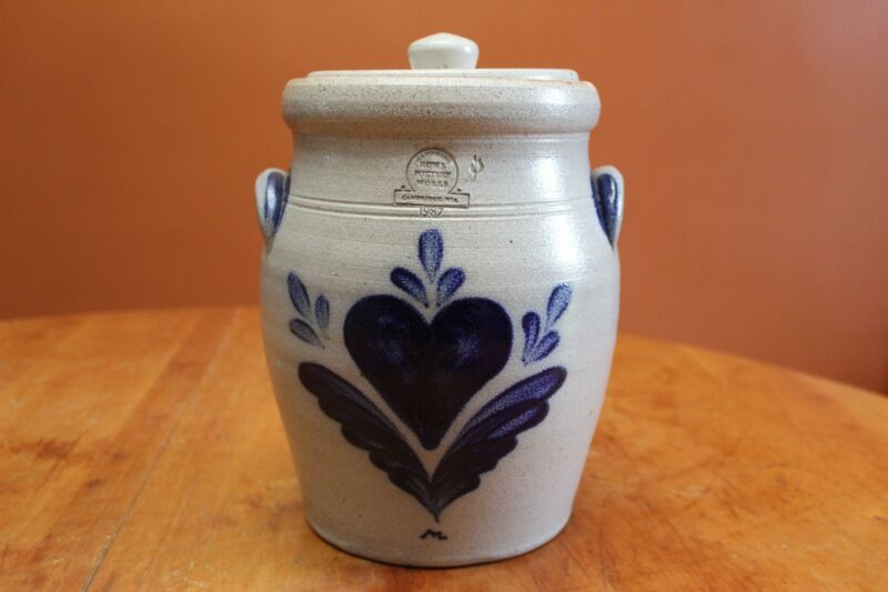 Rowe Pottery Heart Pattern One Gallon Covered Jar Canister Roy Marsden 1987