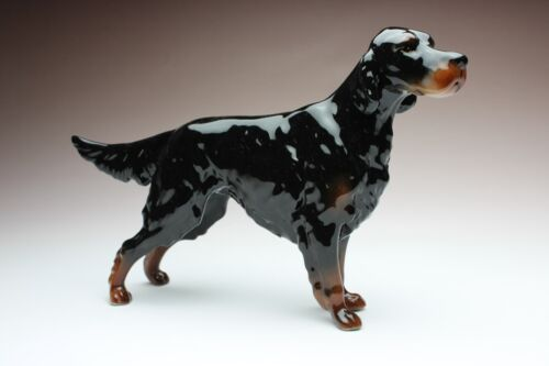 Gordon Setter Porcelain Figurine Ceramic Dog Statue New Reproduction Japan