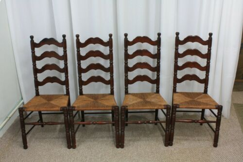 Vintage ladderback chairs with perfect rush seats set of four