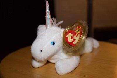 Ty Original Beanie Baby Mystic Unicorn (Iridescent Horn & Yarn Mane and Tail)