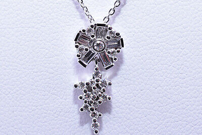 Diamond Flower Necklace with Baguette and Round Diamonds in 18K White Gold Baguette Diamond Flower