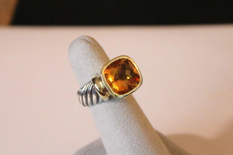 David Yurman Sterling Silver 14k Gold Large Citrine Noblesse Ring Size 6
