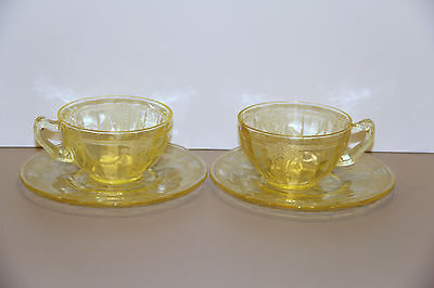 Two Yellow Topaz Cameo Ballerina Cup & Saucers - Hocking Glass Company