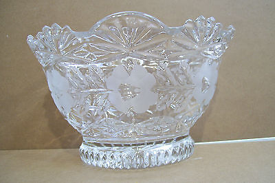 """Lead Crystal Bowl Hand Cut Clear & Frosted 8"""" Wide Floral Engraved East Germany"""