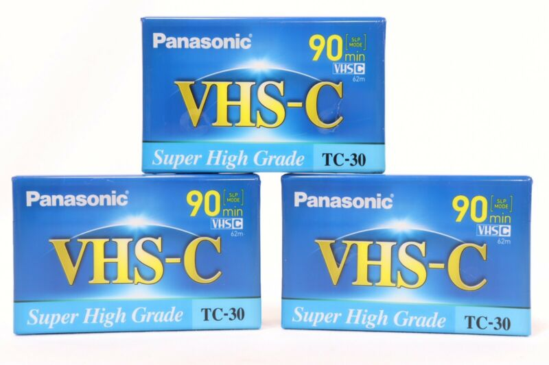 Lot of 3 Panasonic TC-30 Super High Grade 90 Minute VHS-C Videocassette Tapes