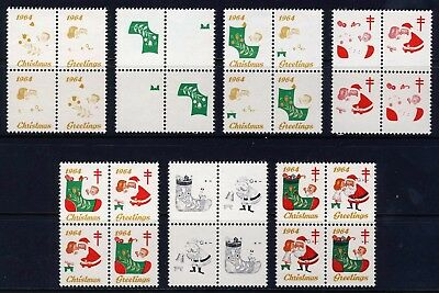 1964 USA Christmas Seal Progressive Proofs BLOCKS (7) . Mint Never Hinged
