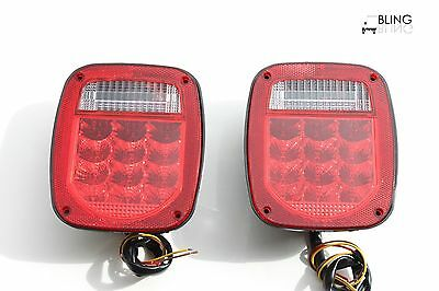 Red Truck Trailer Boat Jeep TJ CJ YJ JK Stop Turn Tail LED Lights / Stud Mount