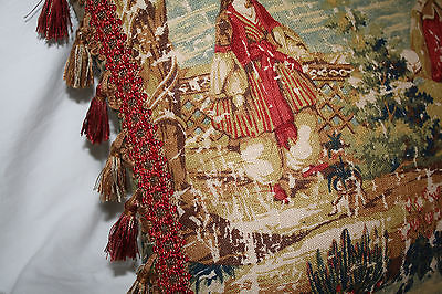Covington Antique - Custom Covington Bosporus Antique Red Toile Pillow with Fringe 18""