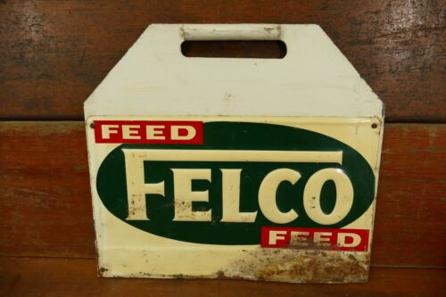 RARE Vintage Original Felco Feed Hog Slider/Divider w/ 2 Embossed Metal Signs