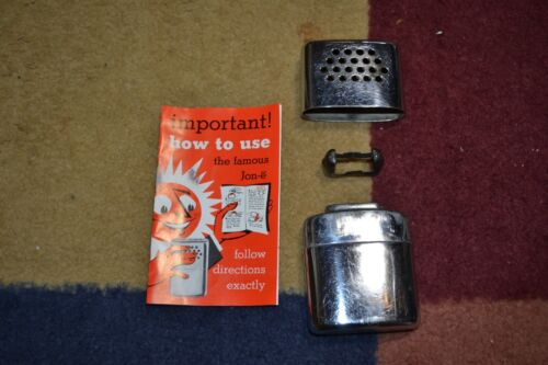 Vintage Chrome JON-E HAND Hand Warmer w/ Manual/Instructions Hunting Hunter Warm