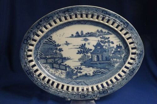 "ANTIQUE Staffordshire Pearlware Transferware Chinoiserie Reticulated 10 1/4""Tray"