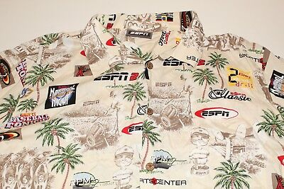 ESPN Zone Men's Hawaiian Shirt Unique Sport Center SZ: (Hawaiian Center)