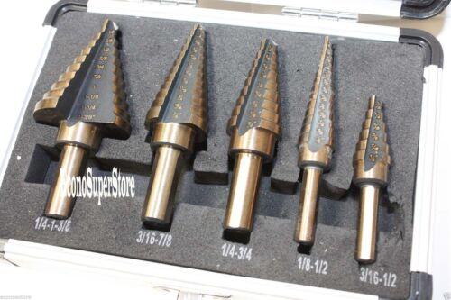 CO-Z 5pcs Hss Cobalt Multiple Hole 50 Sizes Step Drill Bit S