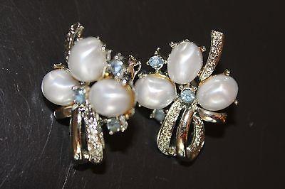Coro Signed Vintage Silver Tone Clip-On Earrings - Faux Pearls/Topaz Rhinestones