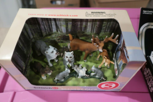 NEW SCHLEICH SCENERY PACK 41270 DEER WOLF RACOON FREE SHIPPING RETIRED