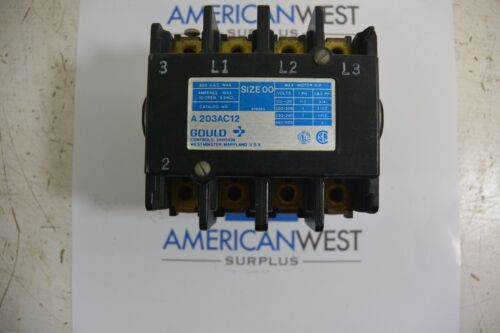 A203AC12 Gould Size 00 10A 600V Contactor Only with 2090 70DA 120v coil USED