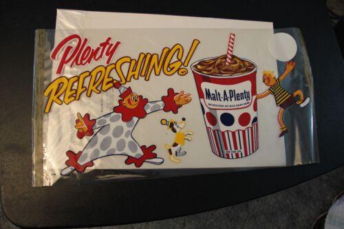 Vintage NOS Malt A Plenty Malt Shake Chocolate Advertising Poster Clear Clown