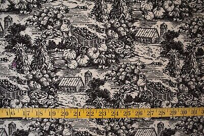 - HARVEST TOILE PRINT BLACK ON TAN 100% COTTON FABRIC BY THE 1/2 YARD