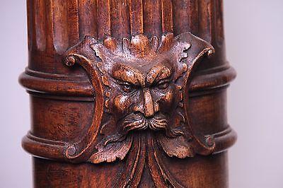 19C Venetian Carved Corinthian Columns Mythological Gargoyle Masks