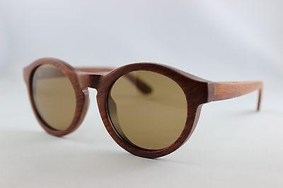 BEWELL Holz Sonnenbrille Brille Rosenholz mit Etui polarisiert CE Holzbrille