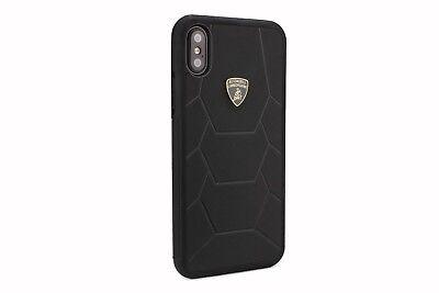 LAMBORGHINI AVENTADOR D7 Leder iPhone X, iPhone Xs Schutzhülle Back Case Schwarz Schwarz Leder Iphone