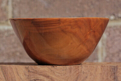 Vintage Wooden Bowl by Vermillion Round Hand Crafted Solid Walnut Wood Bowl Primitive Rustic Centerpiece Fruit Bowl Bohemian Decor