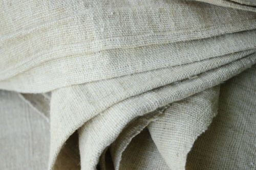 Antique French linen sheet HEAVY hemp 6 POUNDS 89X121 HEAVY striated fabric 1890