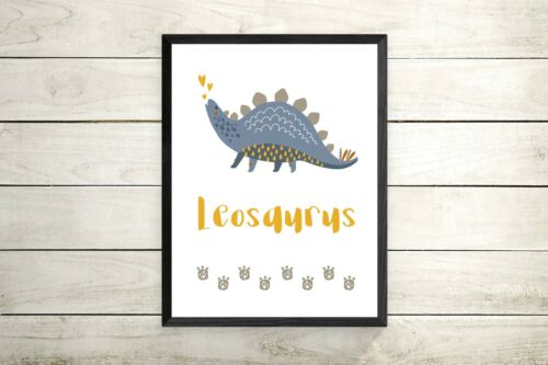 personalised Dinosaur Prints / Pictures For Nursery Decor / Bedroom Art