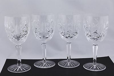 """SET OF 4 WATERFORD CRYSTAL GLENGARRIFF 7"""" WATER GOBLETS - MINT"""