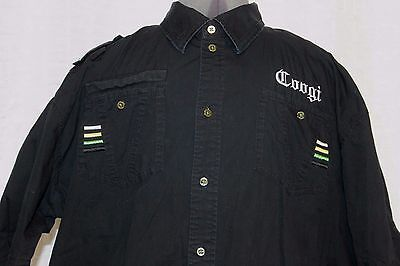 Coogi Black Mens Shirt Sz XXL 3XL Button up Casual Australia Military Style