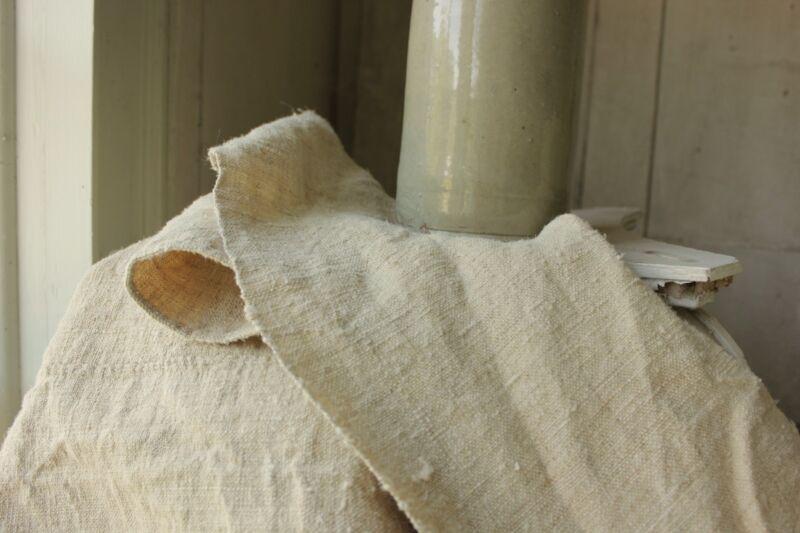 Antique Hemp Fabric European Sheet 18th Century 54x72 inches TEXTURAL linen