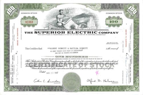 The Superior Electric Company > 1967 Connecticut old stock certificate share