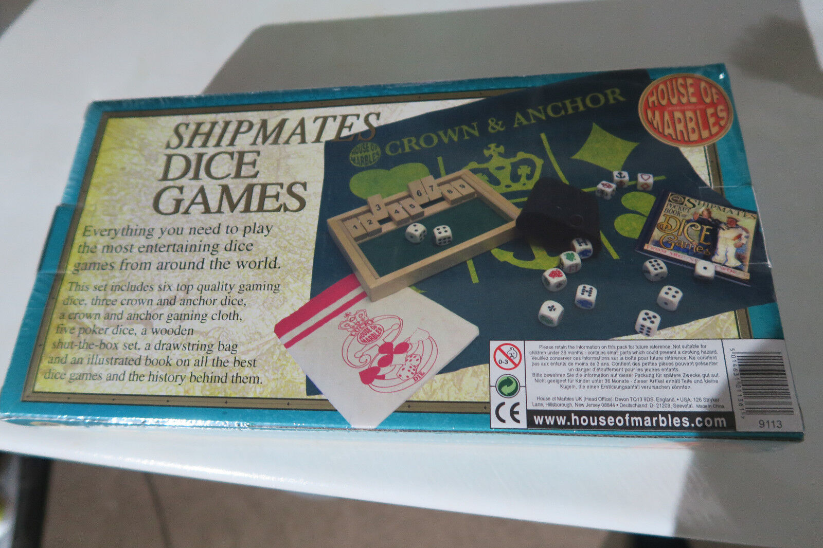 New Shipmates Dice Games Inc 14 Gaming Dice Wooden Shut-the-box Cloth & Bag