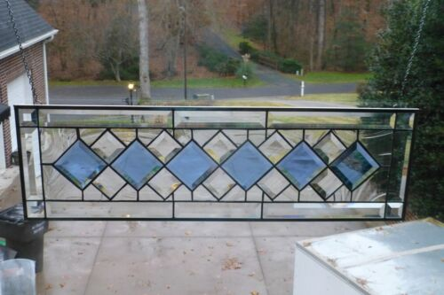 Beautiful Clear & Blue Diamond Beveled Stained glass Transom!