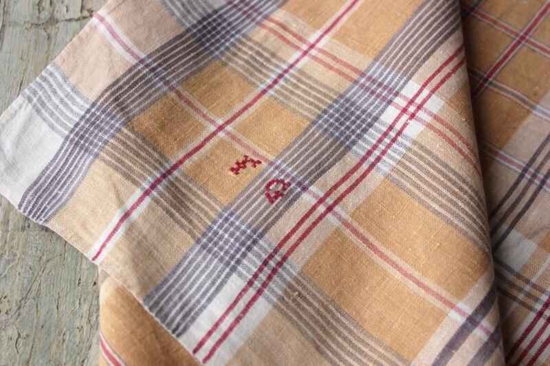 Antique French plaid check napkin bandana neckerchief towel LOVELY