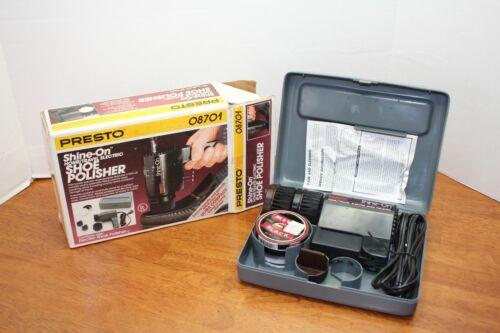 Presto Shine-On Home/Travel Electric Shoe Polisher Electric w/ Case 08701 EUC