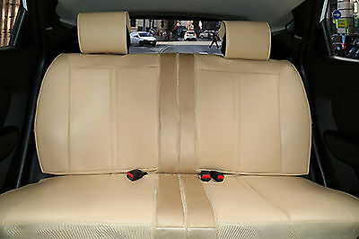 Rear Car Seat Covers Suede PU Leather Cushion Compatible to Lincoln 2096 Tan