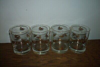 Vintage whiskey bourbon rocks drinking tumbler 8 oz glasses gold trim ducks