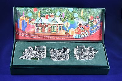 Waterford Crystal Marquis THREE PIECE CHRISTMAS TRAIN SET Boxed