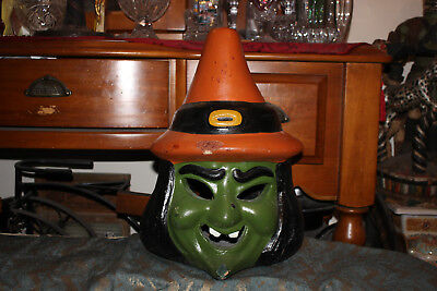 LARGE Vintage Halloween Terra Cotta Witch Candle Holder Lantern Decor-Spooky