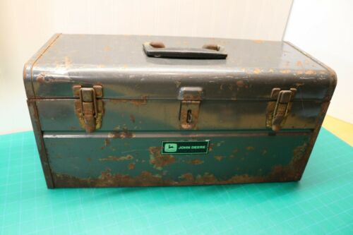Vintage John Deere Metal Toolbox  - Mechanic Tractor Combine Tool Box