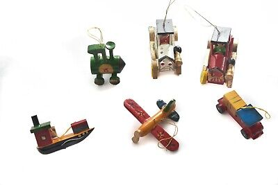 OLD TIME VEHICLES-Christmas Tree Ornaments-Cars Plane Boat Train Truck-Set of 6