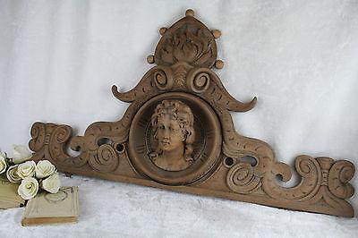 Gorgeous Wood carved VTG French Cabinet door pediment art nouveau lady putti