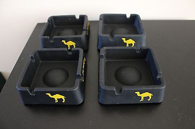 Camel Square Matte Black Ashtray Ceramic / Glass, Set of 4, New in box