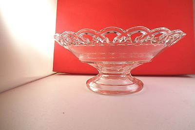 Vintage Imperial Clear Glass Lace Laced Edge Footed Fruit Bowl