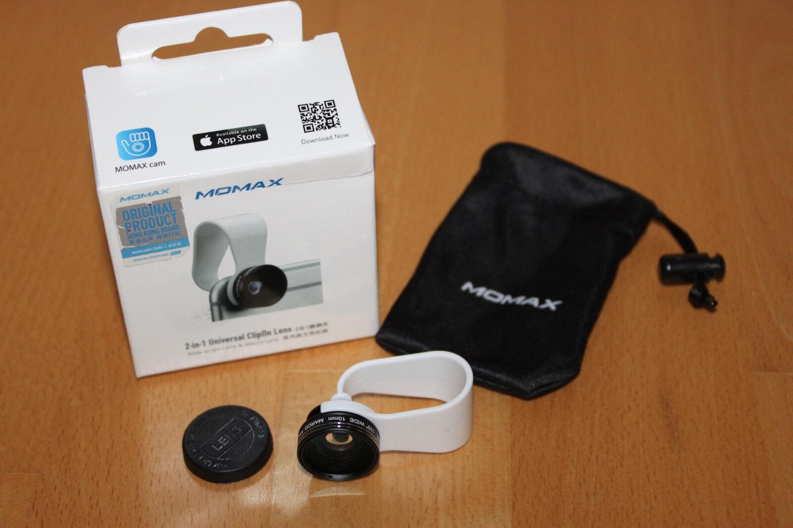 MOMAX – Universal 2-in-1 Clipon-Lens/Smartphone Photo-Linse Neu & OVP – AppStore