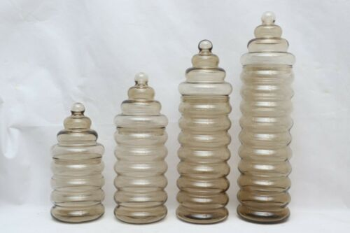 Vintage Holmegaard Primula Ribbed Glass Jar Sets by Jacob Bang Apothecary