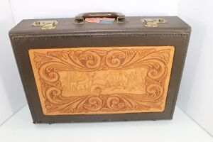 Vintage Hunting Country Themed Hand Tool Leather Briefcase Lawyer Doctor