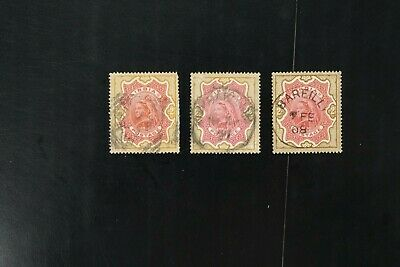 India #50 + #50a three VF used Queen Victoria 2r stamp 2017 cv$30.00 (v053)