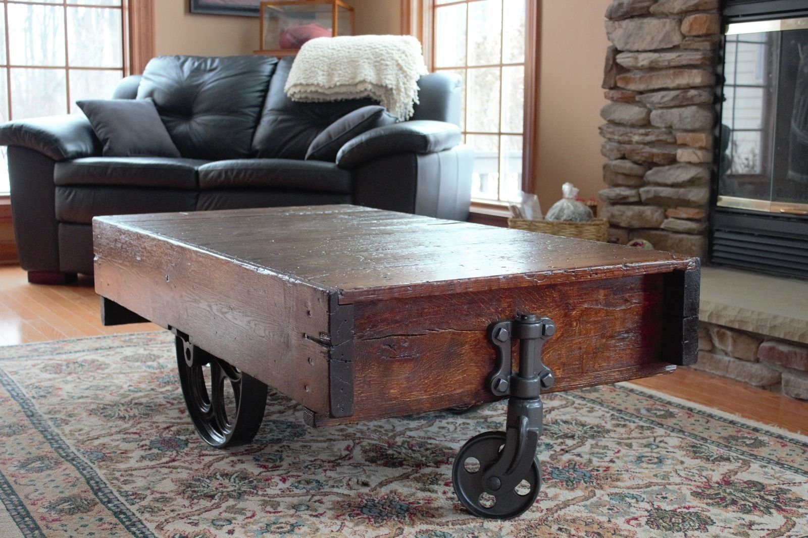 Industrial Factory Cart Coffee Table How To Build A Factory Cart Coffee Table Ebay